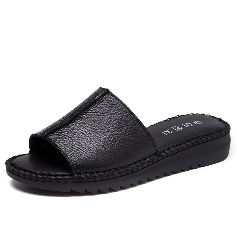DRKANOL Handmade Sewing Genuine Leather Summer Women Slippers Open Toe Sandals Woman Shoes Flat Slippers Beach Flip Flops 1