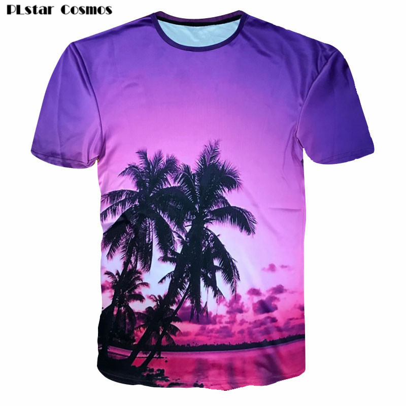 PLstar Cosmos Femei / Bărbați Casual Summer Beach T-shirt 2018 Tricouri Hawaiian T Fashion 3D Cocos Galaxy Space Tricou imprimat
