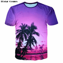 PLstar Cosmos Women/Men Casual Summer Beach T-shirt 2018 Hawaiian T shirts Fashion 3D Coconut trees Galaxy Space Printed tshirt