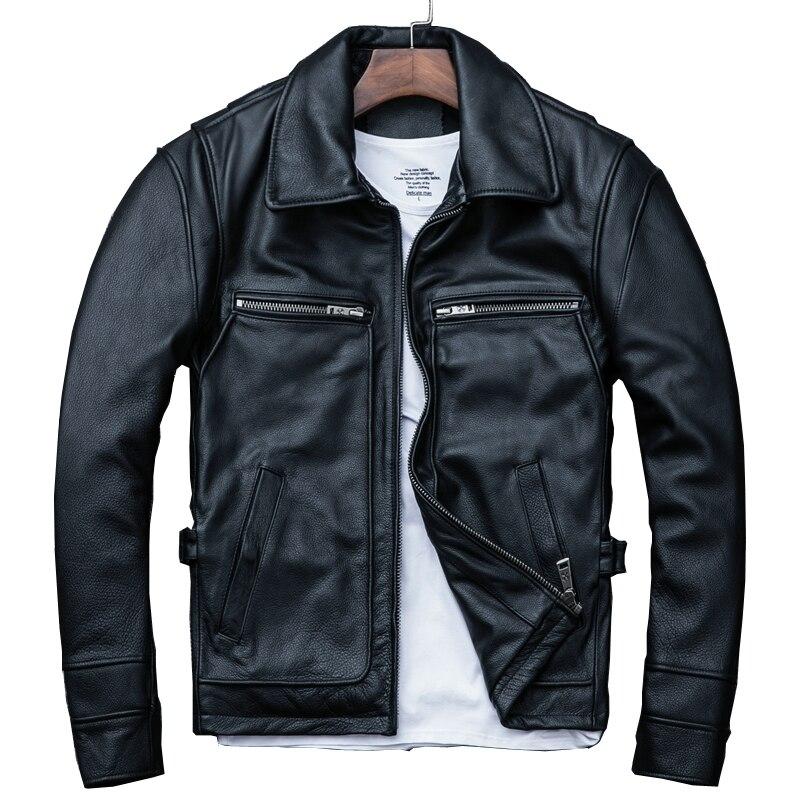 Jacket Russian Winter Genuine-Cowhide XXXL Casual Black Slim Coat Smart Plus-Size Men's