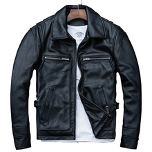 MAXMACCONE 2019 Black Men's Slim Fit Leather Jacket Plus Size XXXL Genuine Cowhide