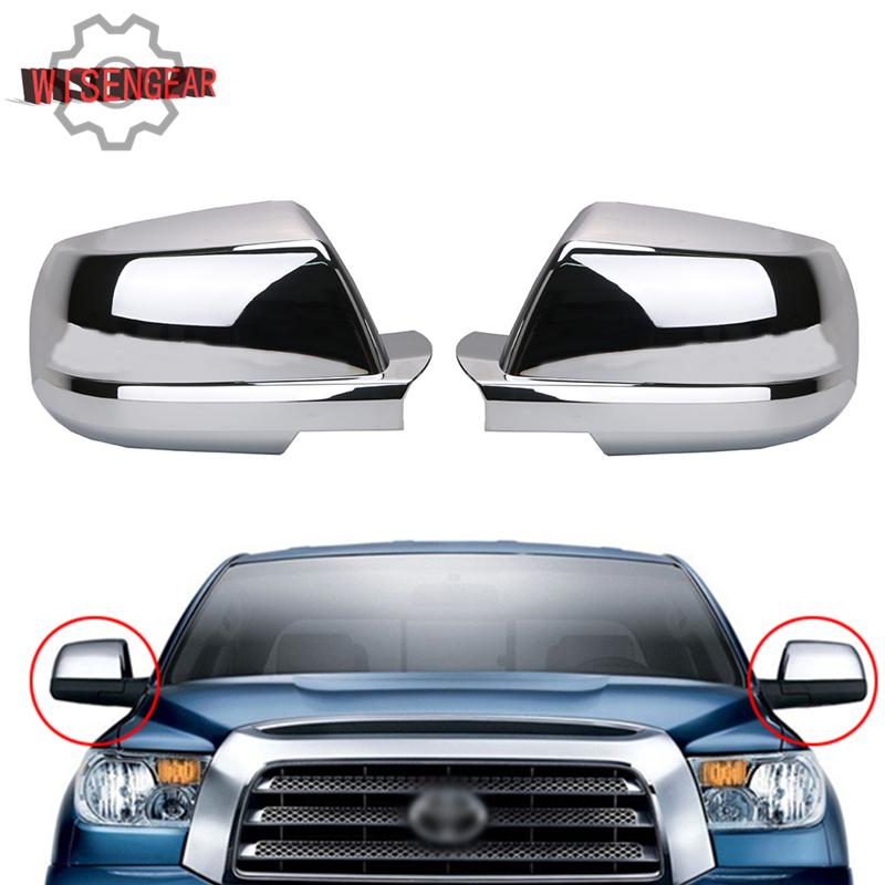 Chrome Door Wing Mirror Cover Cap For Toyota Tundra 2007-2014 / Sequoia 2008-2013 Left & Right Rear View Mirror Covers #RC015 nitro triple chrome plated abs mirror 4 door handle cover combo