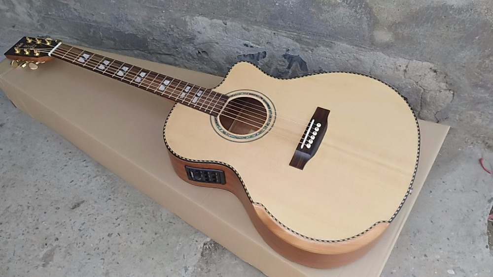 free shipping top quality 2018 new wholesale solid top Customized Acoustic guitars with EQ , Guitarra acoustic electric guitar free shipping best price wholesale top quality solid spruce top 12 strings j200 sunburst color acoustic guitar 14815