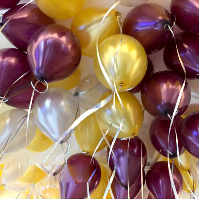 Pearl Light Plus Thick Balloon Red Wine Color Gold And Silver