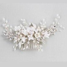 מדהים פרחוני כיסוי ראש כלה כסף צבע שיער מסרק חתיכה פניני נשים לנשף שיער תכשיטי אביזרי חתונה