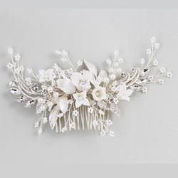 Dower me потрясающий цветочный свадебный головной убор Серебряная расческа для волос кусок жемчуг Для женщин Пром Волосы украшения Свадебные ...