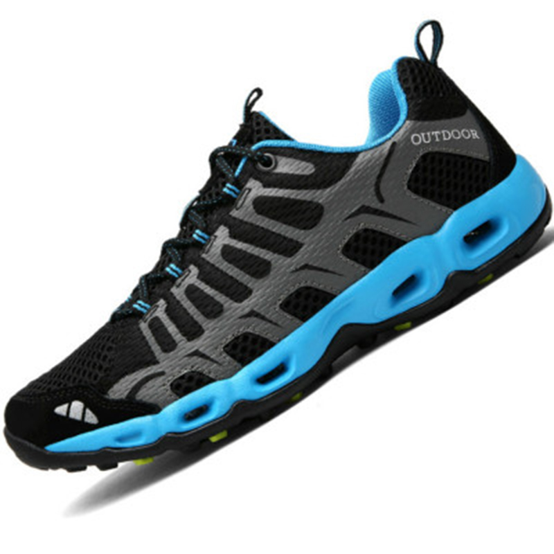 Spring/Summer Water Shoes Sandals Breathable Outdoor Mens Shoes Aqua Water Sneakers Gray/Red Fishing Shoes Men Walking Sandals