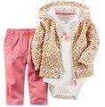 3 pçs/set Primavera Bebe Baby Girl Set Crianças Traje Do Bebê Menino Roupas Casaco + Body + Pant 3 pcs Infantil Inverno menino Outono Conjunto de Roupas