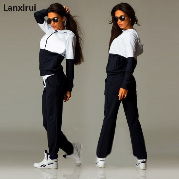 Women 'S Set Tracksuit For Women Set Suit Patchwork Zipper Hoodies +Long Pants Casual Sportwear Costume 2 Pieces Set For Lady