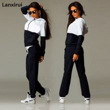 Women S Set Tracksuit For Suit Patchwork Zipper Hoodies +Long Pants Casual Sportwear Costume 2 Pieces Lady