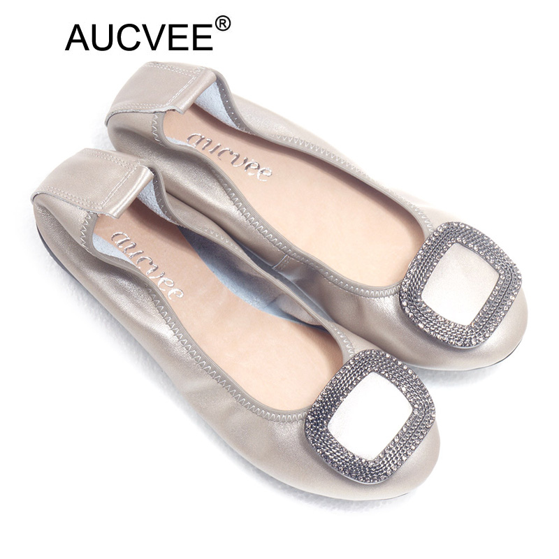 Summer Loafers Split Leather Crystal Moccasin Platform Shoes Woman Slip On  Ballet Flats Comfortable Casual Women Shoes Plus Size e76dc7b1f644