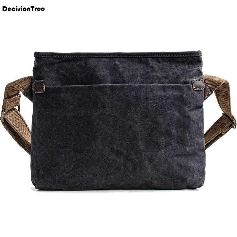 af0de5d3a Vintage para hombre aceite cera lona bolsos de hombro impermeable ajustable  correa de hombro bolsa de