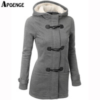 APOENGE Womens Hoodies And Sweatshirts 2017 Autumn Winter Female Hooded Warm Overcoat Zipper Horn Button Long