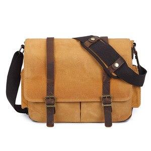 Image 4 - Waterproof Batik Canvas+Leather Camera Bag with Photo Pouch Vintage DSLR Case Casual Shoulder Messenger Photography Bag