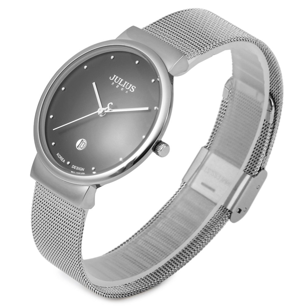 Fashion Watch Men Sports Quartz watch Julius Brand Men Watches Stainless Steel Band Net Belt Casual clock Analog date Thin Dial men fashion quartz watch 45mm