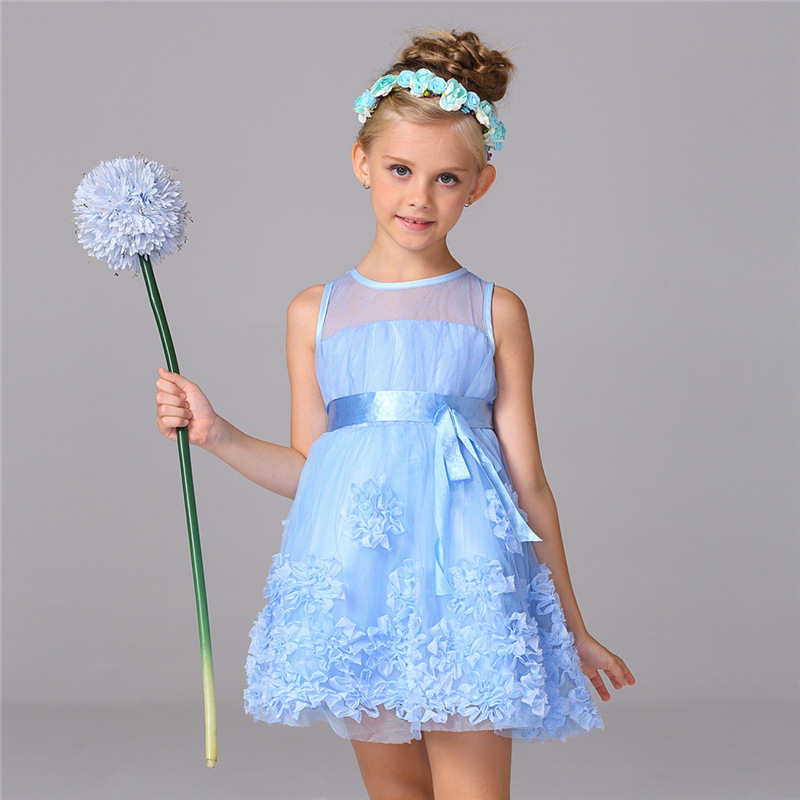 New Summer Style Flower Girls Dress Girl Fashion White Blue Tutu Princess Dresses 3 4 5 6 8 10 Years Kids Birthday Party Vestido