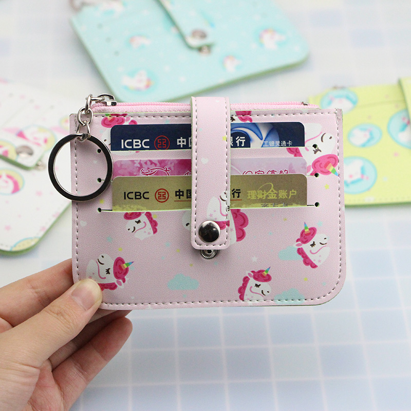 цена на Katuner New Fashion Cartoon Women Unicorn Coin Purse Keychain Cute 6Bits Card Holder Pouch Key Money Bag Girls Coin Wallet K05