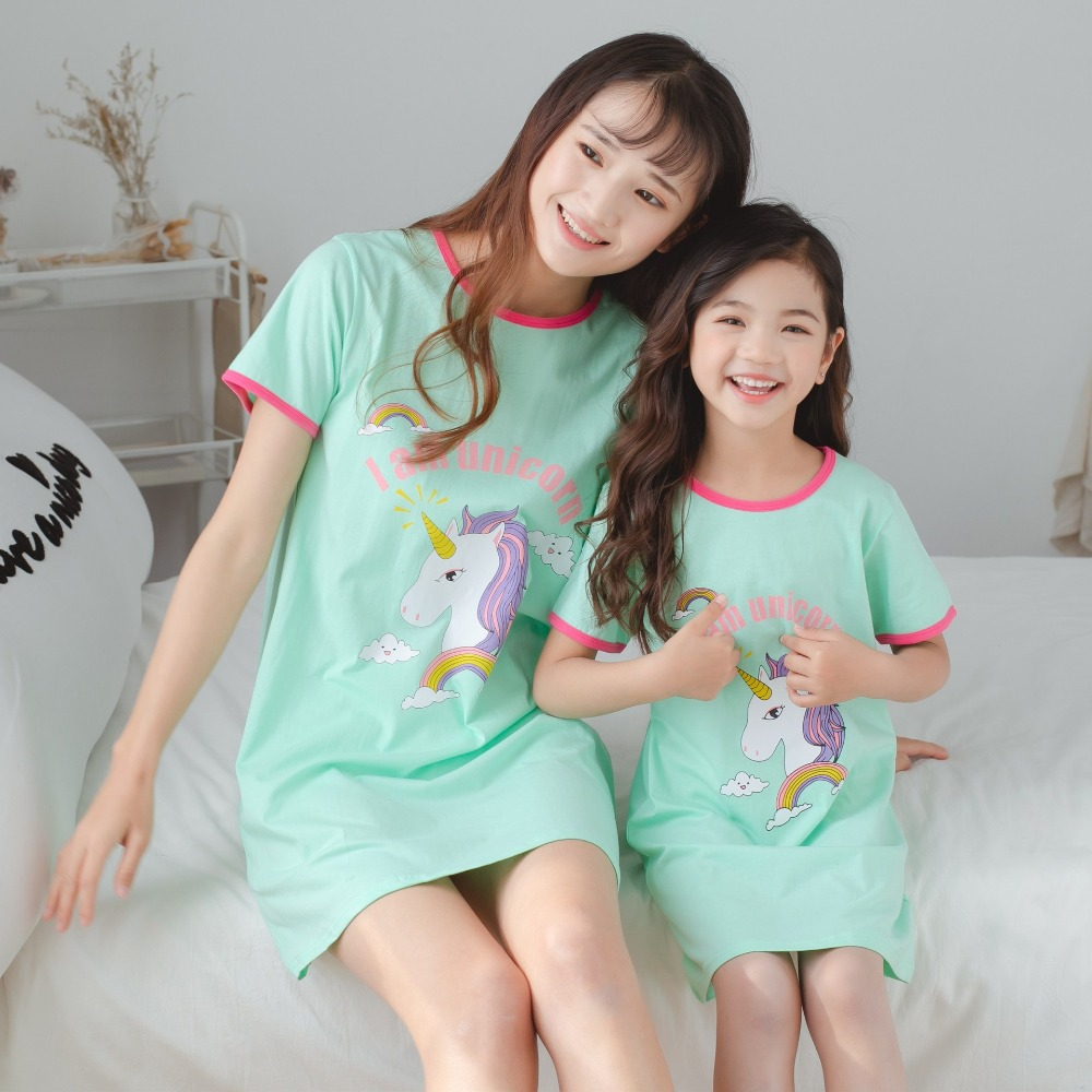 Mother Kids Unicorn Pajamas Mom And Daughter Dress Family Matching Clothes Homewear Baby Girls Cartoon Sleepwear Summer Dresses