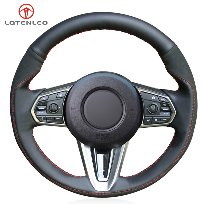 LQTENLEO Black Suede Genuine Leather DIY Car Steering