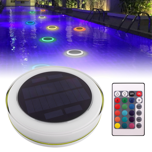 RGB LED Swimming Pool Floating Lights Solar Power Waterproof ...