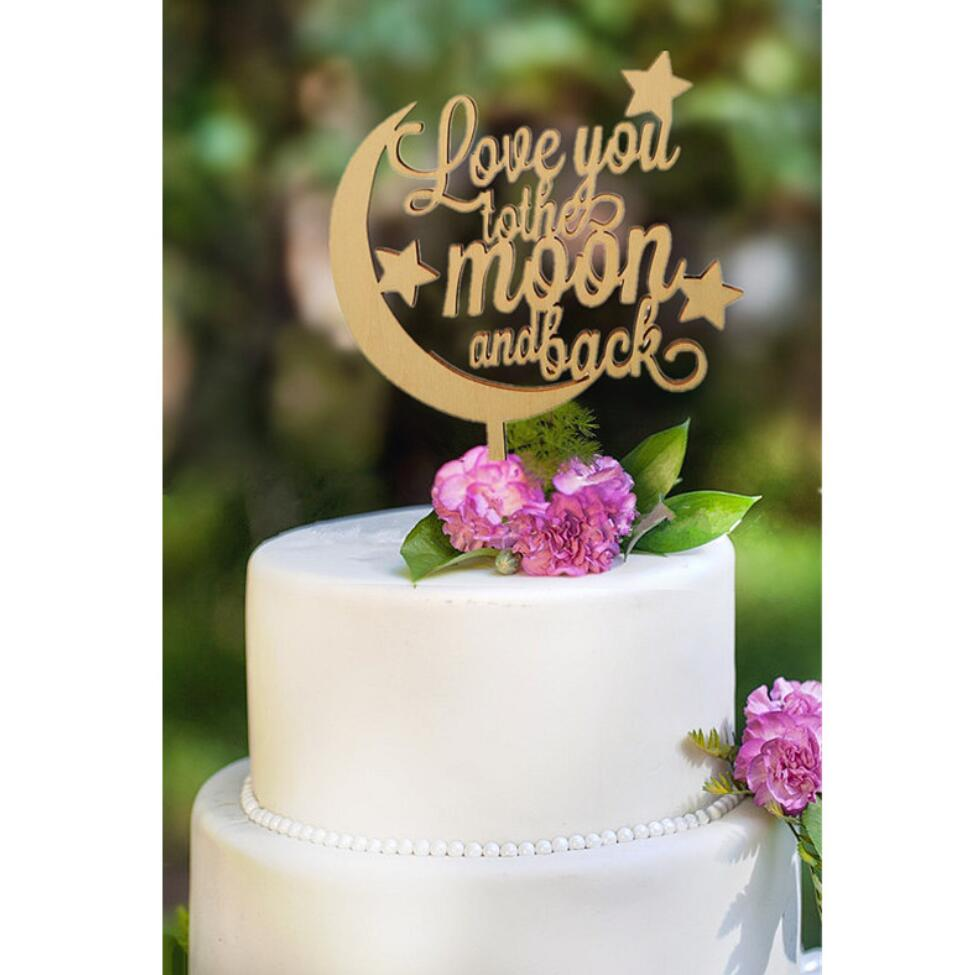 New Design Rustic Wedding Cake Topper Love You To The Moon And Back Wood Wedding Cake Topper Birthday Cake Toppers