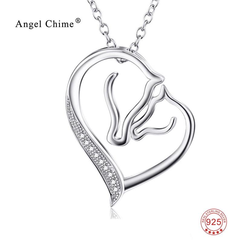 925 Sterling Silver Collier Izjava ogrlica Ženske Nakit Kristalno Srce Konj obesek Ogrlica Kolye Bijoux coeur