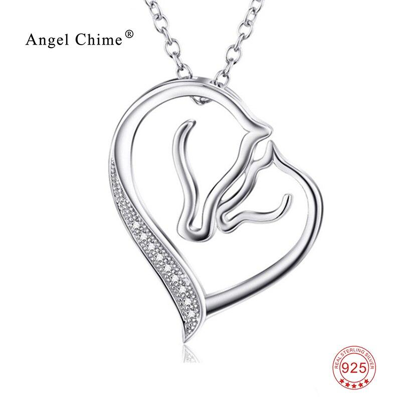 Mujeres moda CZ Corazón de cristal colgante caballo collar 925 plata esterlina Collier declaración collar kolye bijoux coeur