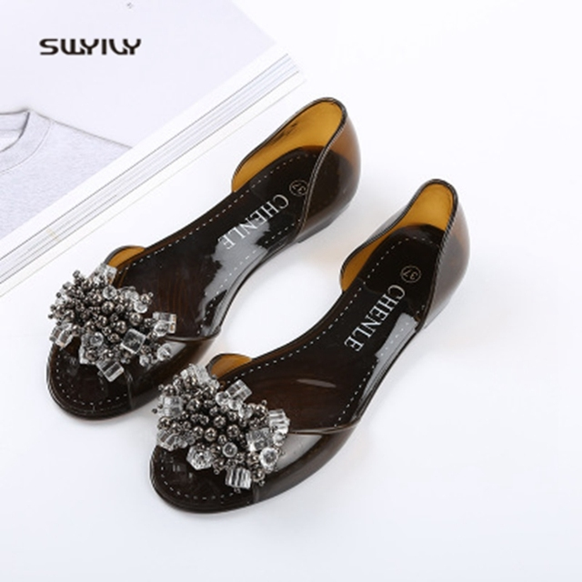 SWYIVY Plastic Jelly Shoes Crystal Flats Shoes 2018 Woman Casual Shoes Summer Beach Sandals Lady Comfortable Shallow Mouth Flats