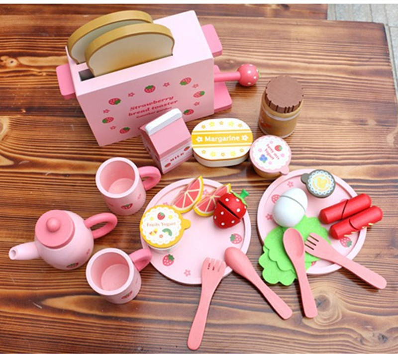 Kitchen Food Set Baby Toys Mother Garden Strawberry Toast Bread Machine Western Breakfast Set Wooden Toys Educational Gift детская сумка 004 mother garden
