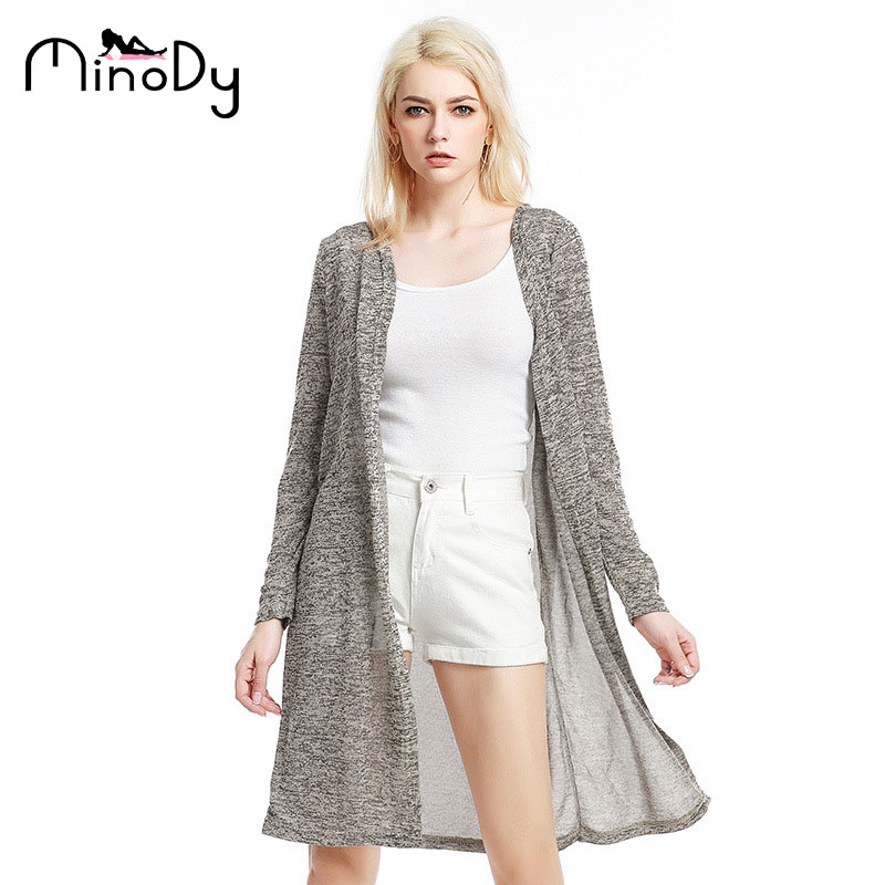176842c38de MINODY Women Long Cardigan Thin Loose Fashion V-Neck Solid Coats Knitting  Autumn Long Causal
