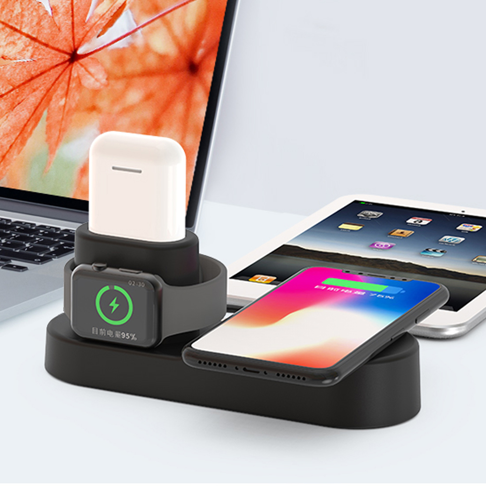 Ascromy Fast Wireless Charger Pad Dock Station For iPhone XS Max XR X 8 Plus 10 Apple Watch 3 2 Induction Charging Stand AirPods (7)