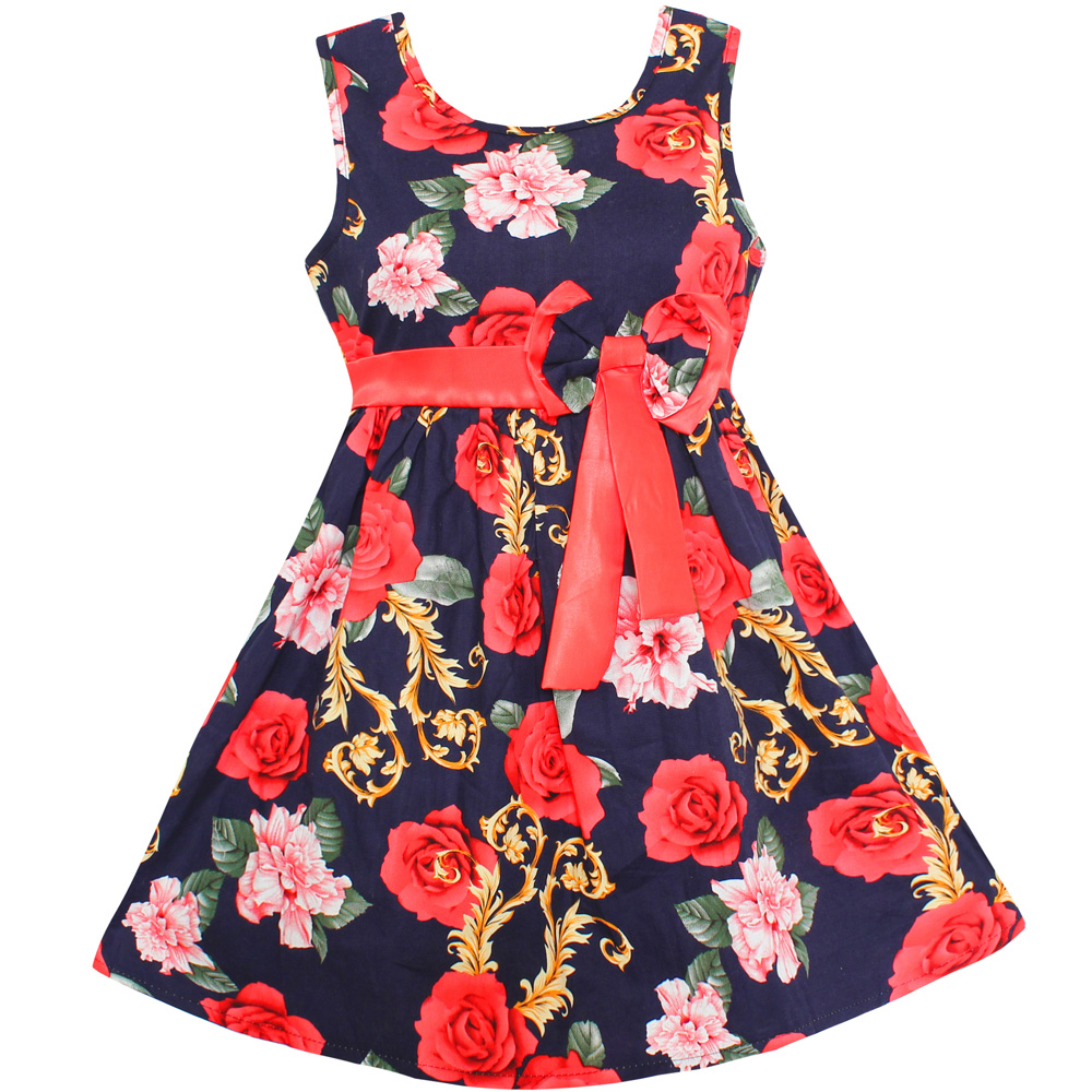cb9b5612b5263 New Summer Girls Dress Dark Blue Floral Bow Party Princess Wedding Children  Clothes Size 4 14-in Dresses from Mother & Kids on Aliexpress.com | ...
