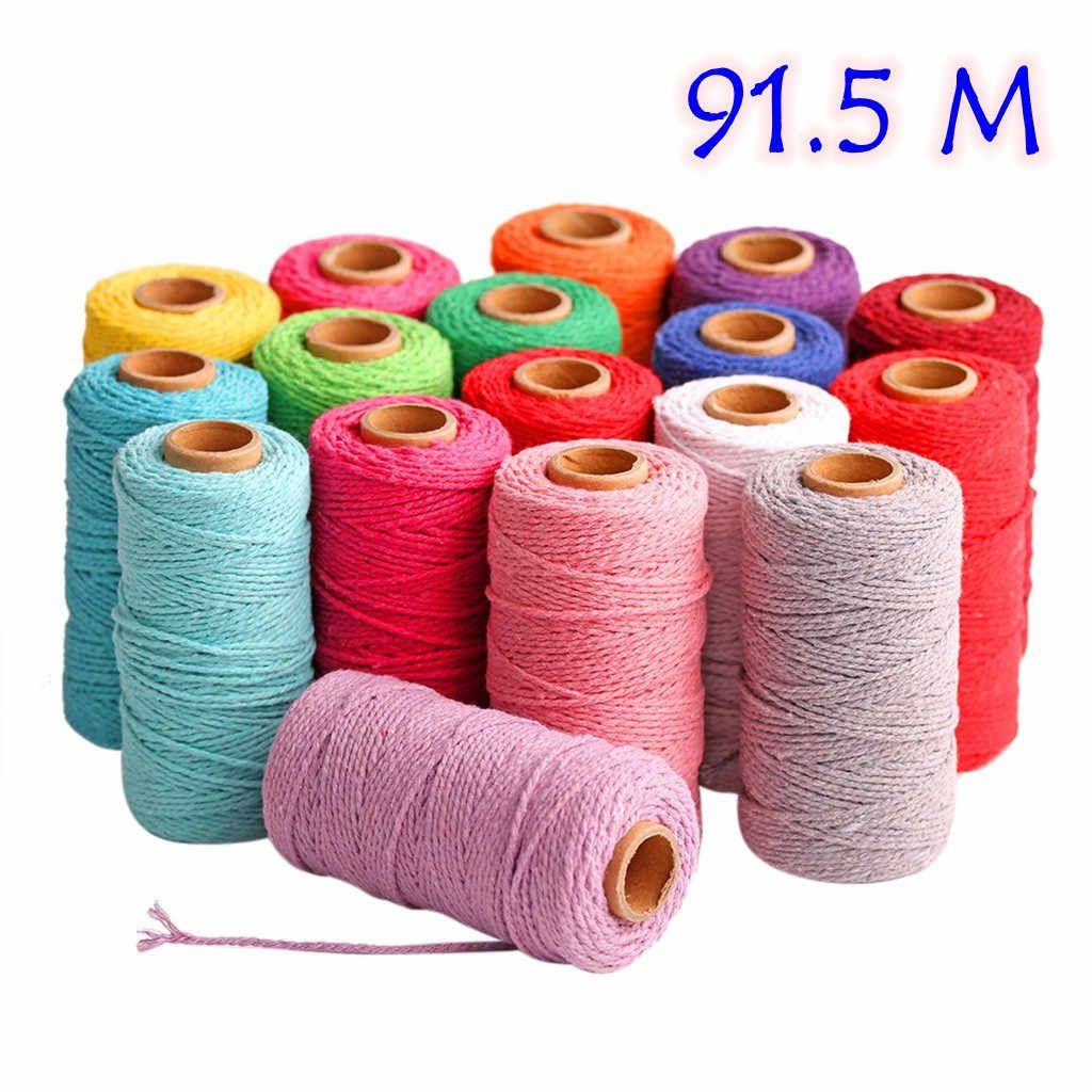 100m Long/100Yard Pure Cotton Twisted Cord Rope Crafts Macrame Artisan String Multicolor Cotton Linen Rope Home Textiles