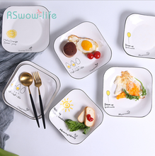 Simple Ceramic Plate Hand-painted Black Square Hotel Tableware Fruit Dessert Cartoon Dish Family Kitchen Supplies