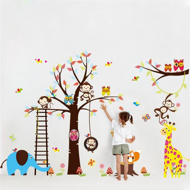 Large Tree Animal Wall Stickers For Kids Room Decoration - Zoo animal wall decals