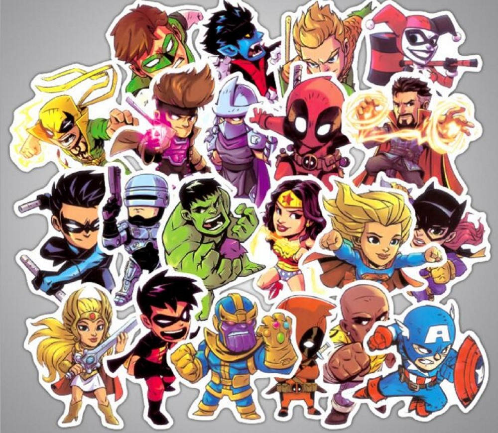 50pcs/set Super Hero Movie Anime Character Mix Laptop Stickers DIY Sticker for Kids Toys Cars Phone Laptop Bicycle Waterproof