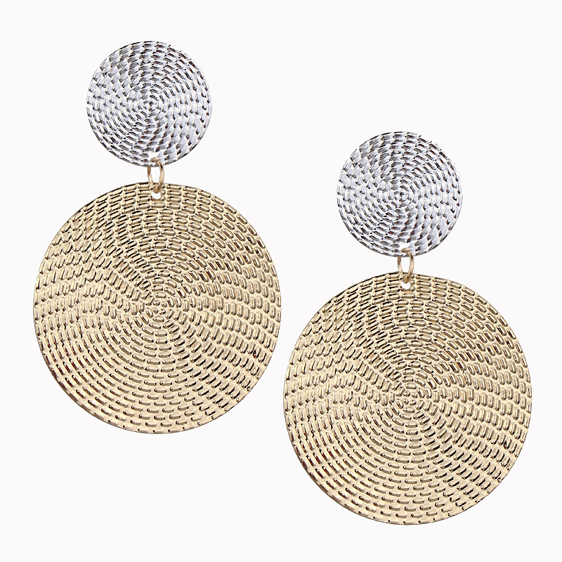 Shiny Golden Color Double Round Circle Clip Earrings For Women Elegant Fashion Statement Earrings Wholesale Jewelry