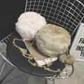 Inverno encantador maomao saco de lazer coringa de pelúcia pequeno rodada de mini pacotes de telefonia móvel em um ombro seu saco da cadeia feminina