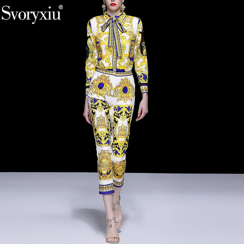 Svoryxiu مصمم العلامة التجارية سراويل أنيقة مجموعة المرأة الأزياء طويلة الأكمام بلوزة + السراويل خمر الباروك طباعة اثنين من قطعة مجموعة الإناث-في مجموعات نسائية من ملابس نسائية على  مجموعة 1