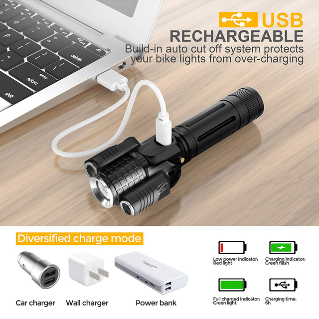 Deformable LED Flashlight Super bright Torch 1T6+2XPE Zoomable 4 lighting modes Powered by 18650 battery For camping, hunting 3