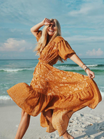 Jastie Lioness Gown V neck with tassels Hippie Chic Boho Dress Floral Print Women Dresses Bohemian Beach Dress Long Maxi Dress