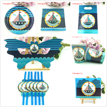 92pcs/lot Sailing Boat birthday party plate cup gift bag mask straw card for kids favors navigation napkin dishes