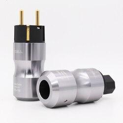 Krell 24 K Banhado A Ouro Europa Padrão Masculino Famale Mains AC Power Plug de Áudio HIFI Europeu Soquete da fonte de Alimentação