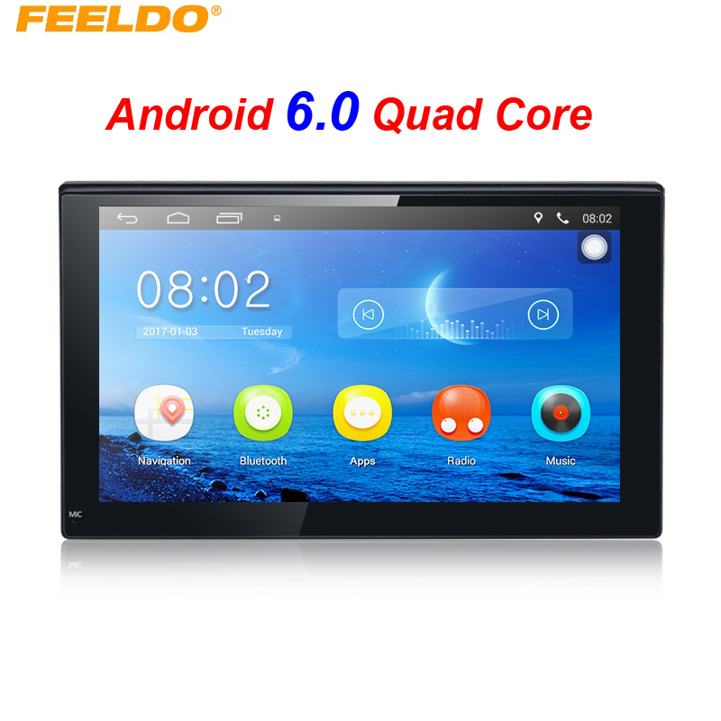 FEELDO New 7inch Ultra Slim Android 6.0 Quad Core For Nissan/Hyundai 2DIN ISO Car Media Player With GPS Navi Radio #FD3887 7 inch 2 din bluetooth car stereo multimedia mp5 player gps navigation fm radio auto rear view camera steering wheel control