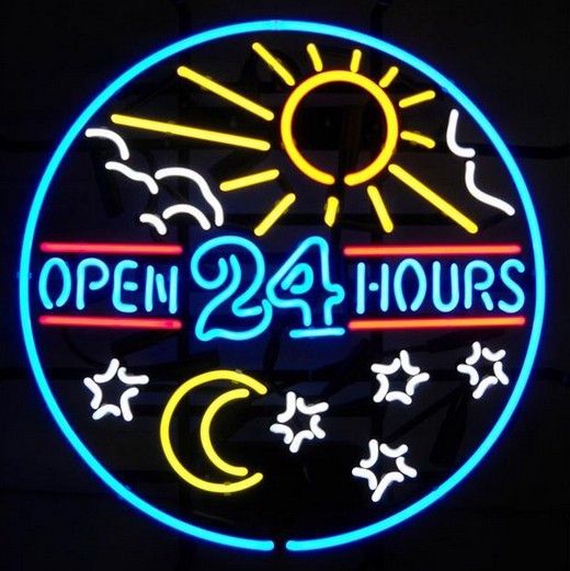 neon sign open 24 hours sun moon day real glass beer bar pub display light signs signboard. Black Bedroom Furniture Sets. Home Design Ideas