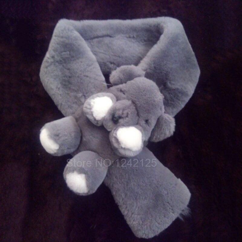 Nouveau automne hiver parentalité enfants véritable rex lapin fourrure écharpe belle chaude dessin animé ours écharpe garçon fille réel lapin fourrure écharpe