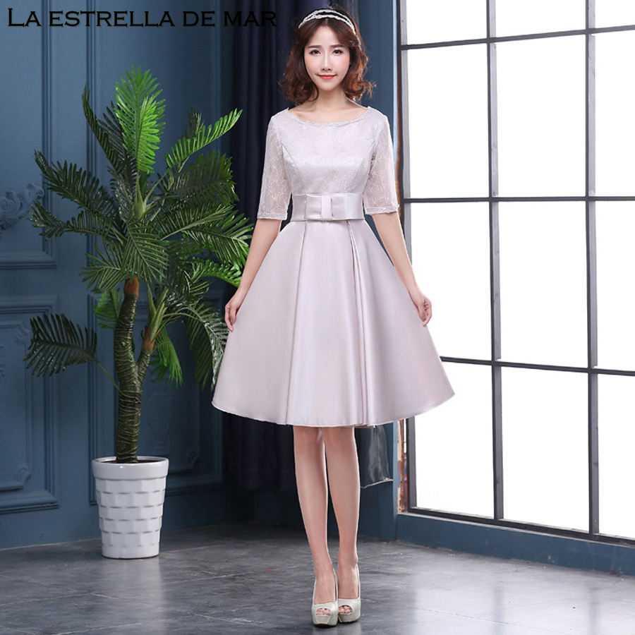 Robe de demoiselle d'honneur pour mariage new new Scoop lace Half sleeve a Line silver   bridesmaid     dress   Tea Length wedding guest