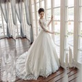 Custom Made Half Sleeve Lace Appliques See Through Back Wedding Dress Turkey
