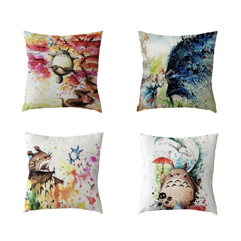 Modern Art Cushion Cover 45x45cm Totoro People Umbrella Forest House Kids Bedroom Gift Decorat Polyester Peach Skin Pillow Cases