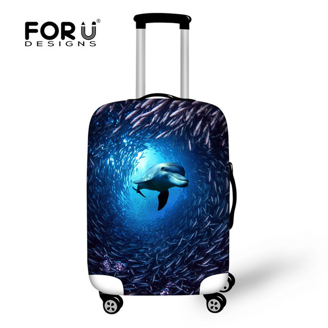 FORUDESIGNS New 3D Animal Dolphin Suitcase Cover Protector for 18-30inch Case Luggage Accessories Travel Luggage Cover Suitcase